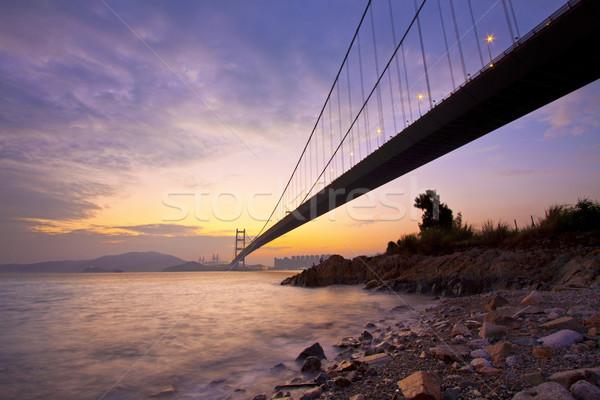 Tsing Ma Bridge in Hong Kong at sunset time Stock photo © kawing921