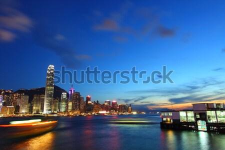 Hongkong noc działalności biuro budynku miasta Zdjęcia stock © kawing921