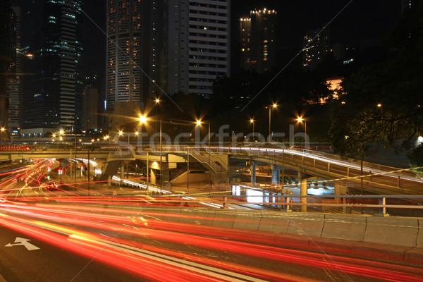Tráfego centro da cidade Hong Kong noite céu abstrato Foto stock © kawing921