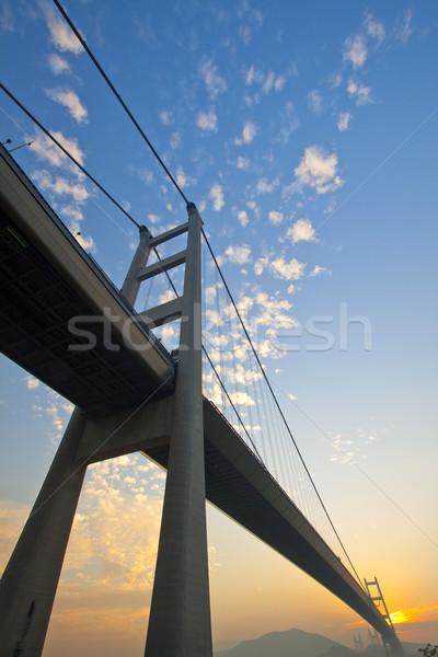 Ponte Hong Kong pôr do sol tempo negócio edifício Foto stock © kawing921