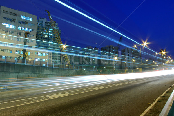Foto stock: Carretera · tráfico · Hong · Kong · noche · resumen · luz