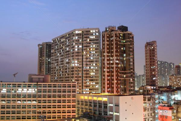 Hong Kong downtown at night Stock photo © kawing921
