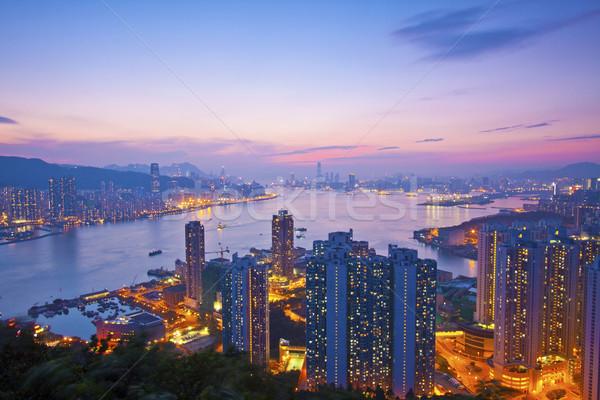 Hongkong noc widoku biuro budynku miasta Zdjęcia stock © kawing921