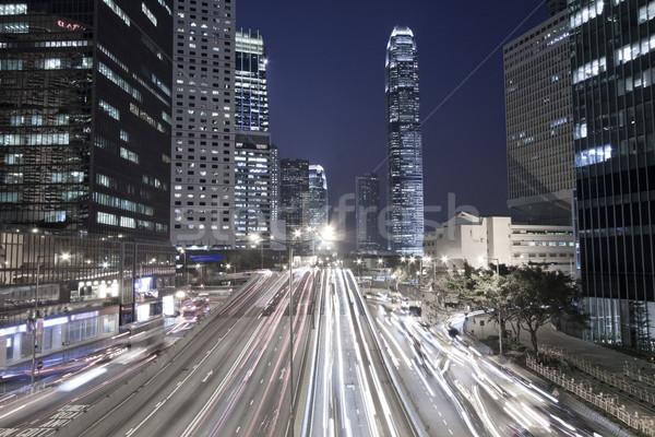 Traffic in Hong Kong downtown at night Stock photo © kawing921