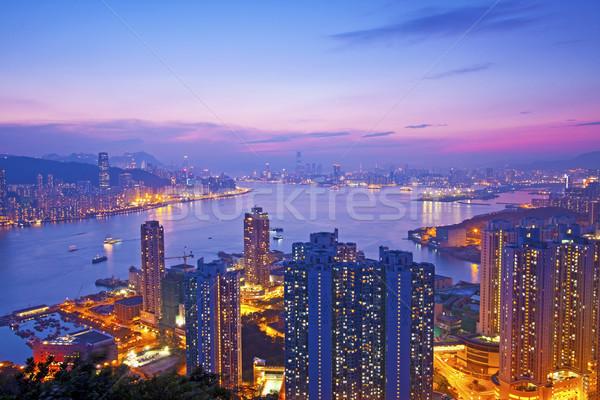 Hongkong wygaśnięcia moment niebo biuro budynku Zdjęcia stock © kawing921