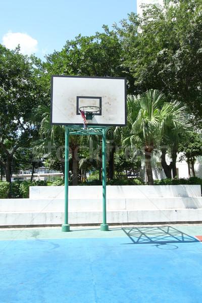 Boisko do koszykówki obudowa niebo drewna szkła Zdjęcia stock © kawing921