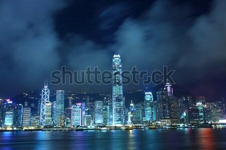Hong Kong skyline in cyber toned at night Stock photo © kawing921
