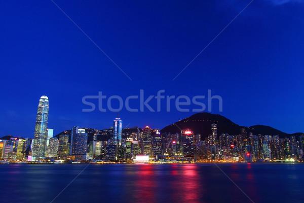 Hong Kong noite negócio escritório edifício cidade Foto stock © kawing921