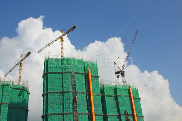 építkezés állvány épület város építkezés hálózat Stock fotó © kawing921