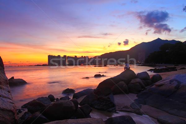 Foto stock: Puesta · de · sol · costa · Hong · Kong · árbol · paisaje · mar