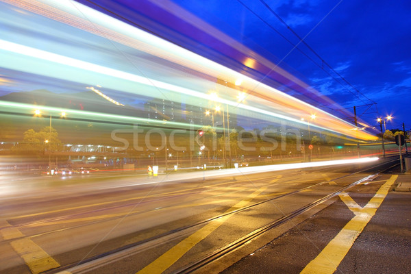 Foto stock: Tráfico · Hong · Kong · noche · luz · rail · resumen