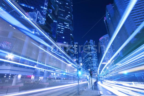 Elfoglalt forgalom éjszakai város gyöngy Hongkong absztrakt Stock fotó © kawing921