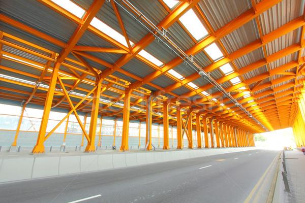 Orange Tunnel Tageszeit Stadt Straße Hintergrund Stock foto © kawing921