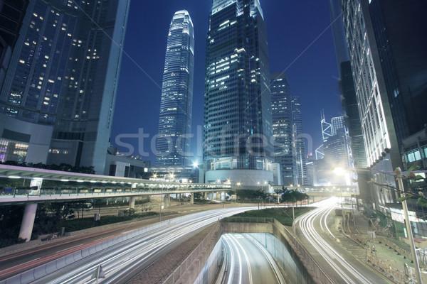 Tráfego centro da cidade Hong Kong noite estrada cidade Foto stock © kawing921