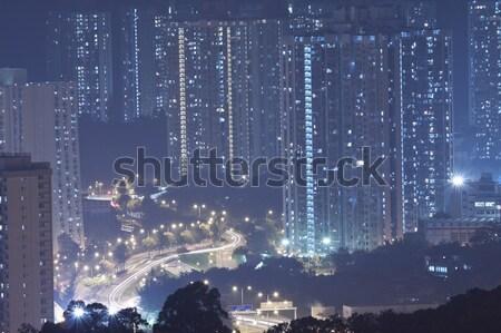 Hong Kong apartment blocks at night Stock photo © kawing921