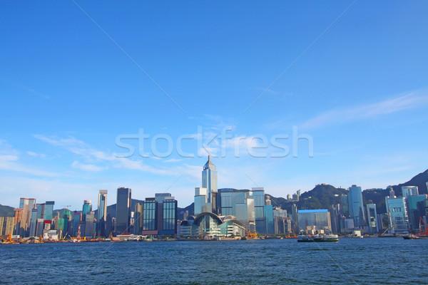 Hong Kong linha do horizonte dia edifício cidade beleza Foto stock © kawing921