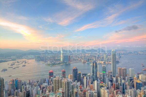 Hong Kong edifícios de escritórios céu escritório edifício cidade Foto stock © kawing921