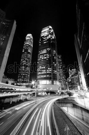 Hong Kong noite preto e branco abstrato luz ponte Foto stock © kawing921