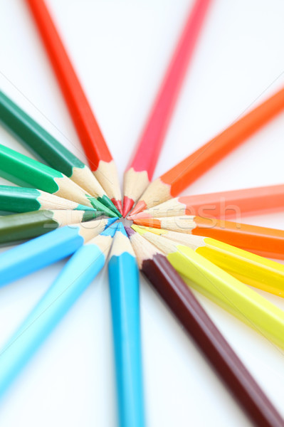 Color pencils in arrange in color wheel colors on white backgrou Stock photo © kawing921