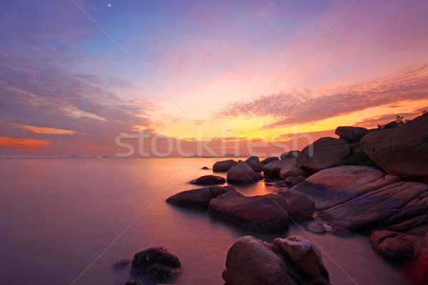 Sunset over the ocean. Nature composition under long exposure. Stock photo © kawing921