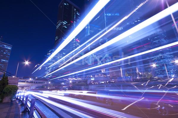 Város forgalom éjszaka fény égbolt absztrakt Stock fotó © kawing921