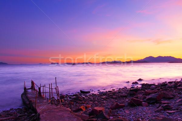 Puesta de sol costa la exposición a largo paisaje fondo verano Foto stock © kawing921