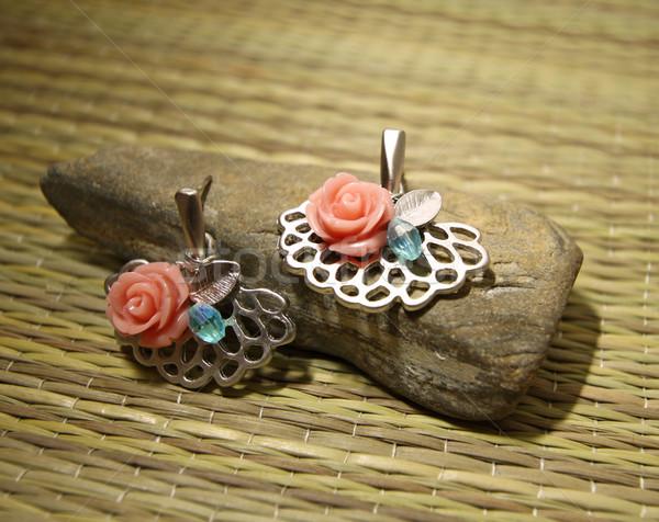 Fülbevalók divat fém művészet ajándék gyűrű Stock fotó © kawing921