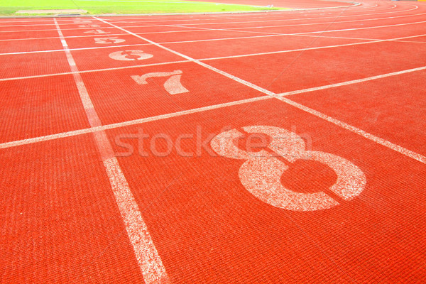 Stock photo: Running track lanes for athletes