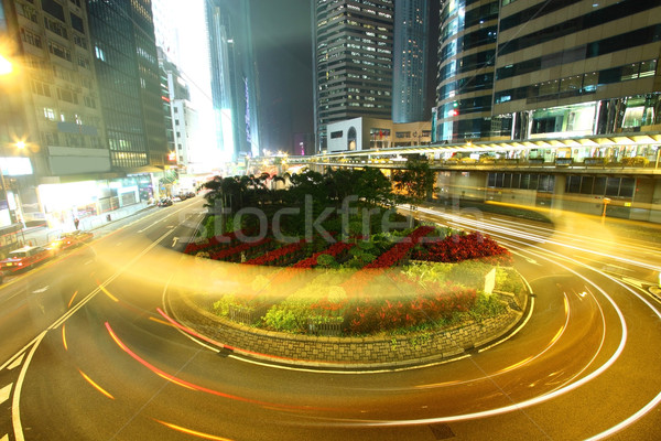 Rotonde verkeer Hong Kong nacht auto gebouw Stockfoto © kawing921