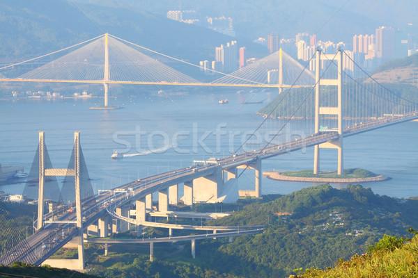 Hong Kong pontes dia tempo negócio edifício Foto stock © kawing921