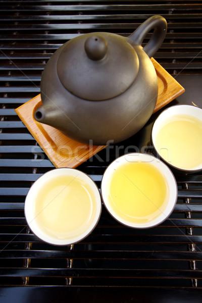 Chińczyk herbaty zestaw wody tle zielone Zdjęcia stock © kawing921