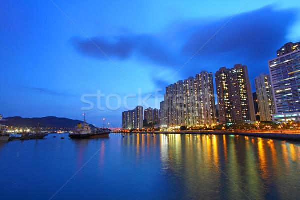 ストックフォト: 香港 · 1泊 · 表示 · タウン · ビジネス · 空