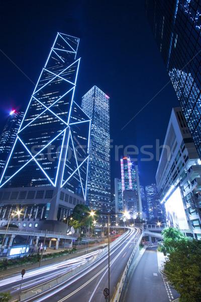 Verkeer centrum Hong Kong nacht zakenwijk abstract Stockfoto © kawing921