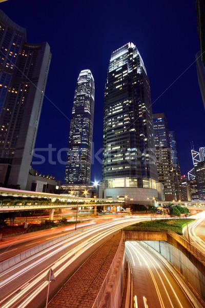 Foto stock: Hong · Kong · noche · uno · ocupado · distrito · resumen