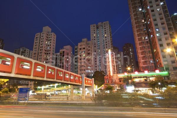 Elfoglalt forgalom éjszakai város Hongkong éjszaka üzlet Stock fotó © kawing921