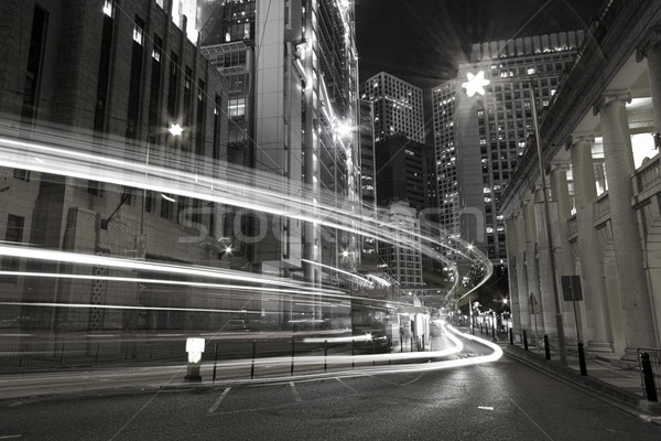 Stock photo: Traffic in city at night in black and white toned