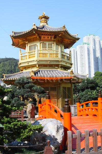 Perfeição jardim céu cidade laranja ponte Foto stock © kawing921