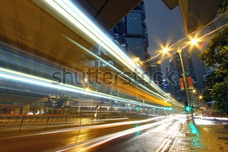 Városi tájkép elfoglalt forgalom Hongkong éjszaka Stock fotó © kawing921