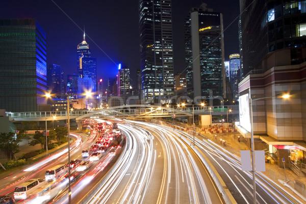 Tráfego Hong Kong centro da cidade noite céu árvore Foto stock © kawing921