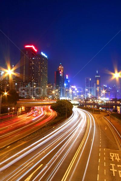 Tráfego centro da cidade Hong Kong noite abstrato luz Foto stock © kawing921