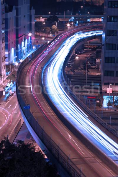 Traffic in highway of Hong Kong at night Stock photo © kawing921