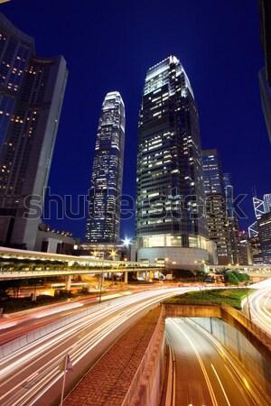 Tráfico Hong Kong noche resumen luz puente Foto stock © kawing921