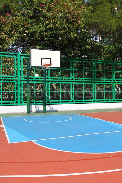 Basketbol sahası gökyüzü arka plan spor salonu mavi eğlence Stok fotoğraf © kawing921