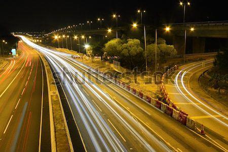 Forgalom Hongkong éjszaka autó épület építkezés Stock fotó © kawing921