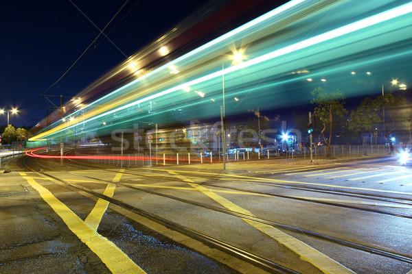 Luz trilho um transporte Hong Kong noite Foto stock © kawing921