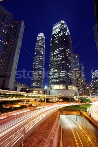 Forgalom éjszakai város absztrakt fény utca felirat Stock fotó © kawing921
