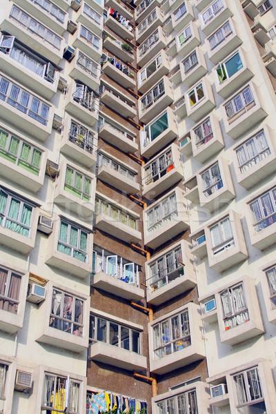 Hongkong lakások nap otthon háttér városi Stock fotó © kawing921