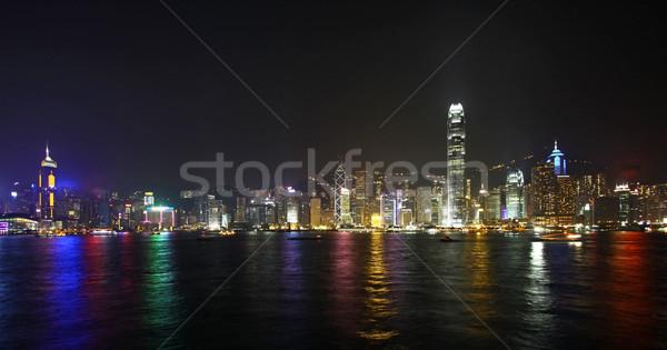 Hong Kong night view along Victoria Harbour Stock photo © kawing921