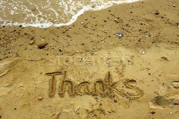感謝 単語 砂 太陽 海 背景 ストックフォト © kawing921