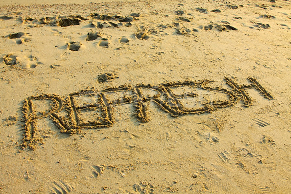 Zand zon zee oranje oceaan Stockfoto © kawing921